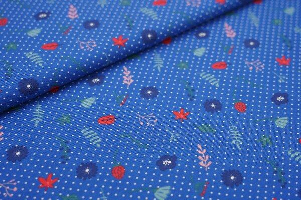 Baumwoll-Jersey Blumen Blätter weiße Pünktchen Punkte auf blau