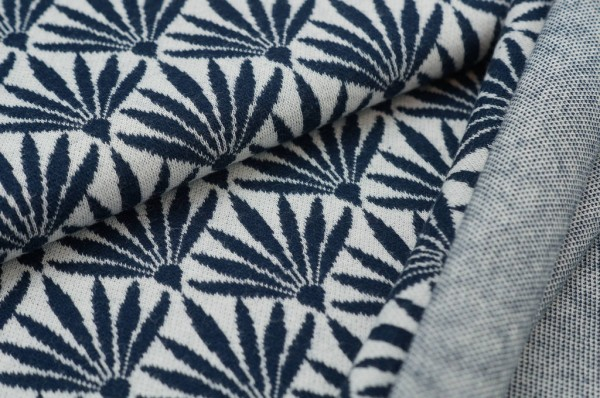 Jacquard-Sweat Ben Blumen-Fächer off white / navy blau