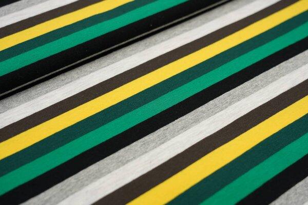 Baumwoll-Jersey Streifen grau meliert / schwarz / grün / gelb / braun / hellgrau