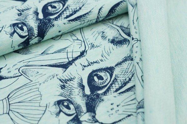 XXL Baumwoll-Sweat Maya Melange Katzen navy blau auf pastell mint