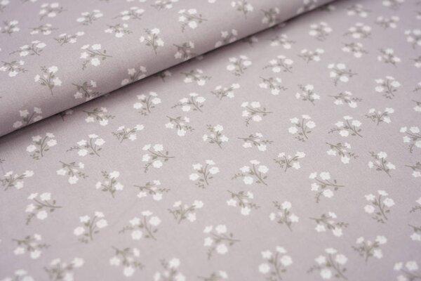 Baumwolle mit Blumen hellgrau / weiß