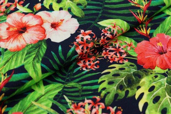 Baumwoll-Jersey Digitaldruck Hibiskus-Blumen und Palmenblätter auf schwarz
