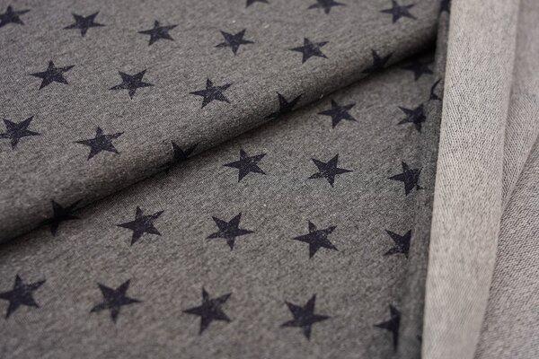 Baumwoll-Sweat navy dunkelblaue Sterne auf mittelgrau meliert