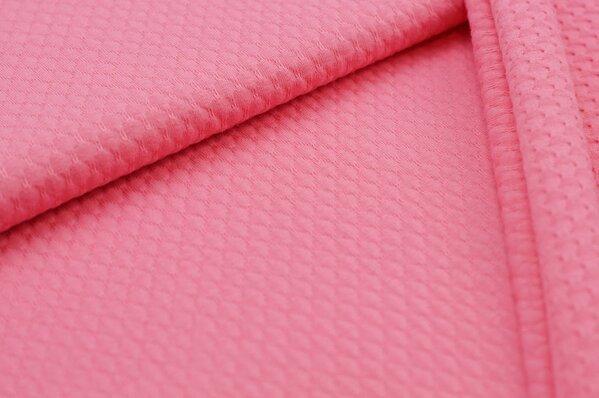 Baumwoll-Jersey mit Struktur Waben-Design uni hell pink rosa