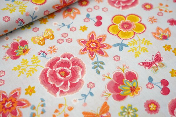 Baumwolle Blumen Schmetterlinge Kirschen hellblau / rot / orange / gelb