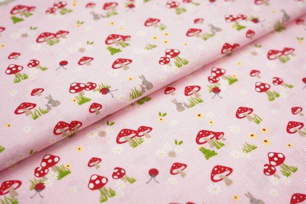 Baumwollstoff Baumwolle Fliegenpilze Blumen Marienkäfer Hasen auf rosa