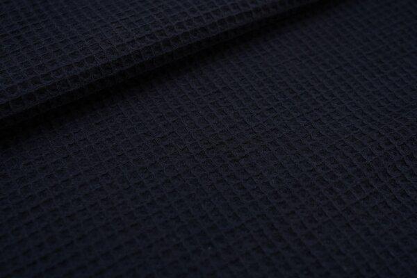 Waffelpiqué Waffelstoff uni dunkelblau Baumwollstoff mit Waffelmuster