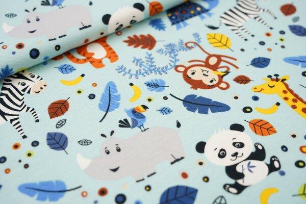 Baumwoll-Jersey Tiere und Punkte Panda Affe Zebra Nashorn Giraffe Tiger hellblau