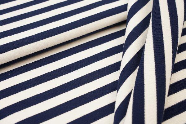 Traumbeere XXL Baumwoll-Sweat Marie Streifen Ringel mittel navy dunkelblau und off white