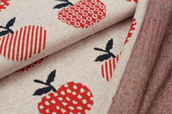 Jacquard-Sweat Mia Äpfel auf pastell rosa Melange rot / blau / off white