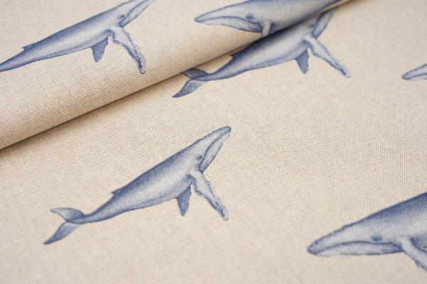 Canvas-Stoff Dekostoff Leinenoptik blaue Buckelwale auf natur