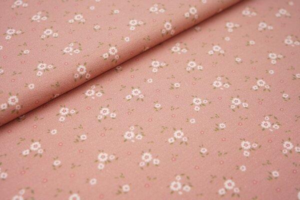 Digitaldruck Baumwoll-Jersey kleine Blumen auf pastell altrosa