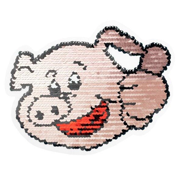 Applikation großes Schwein mit Daumen Aufnäher mit Wendepailletten