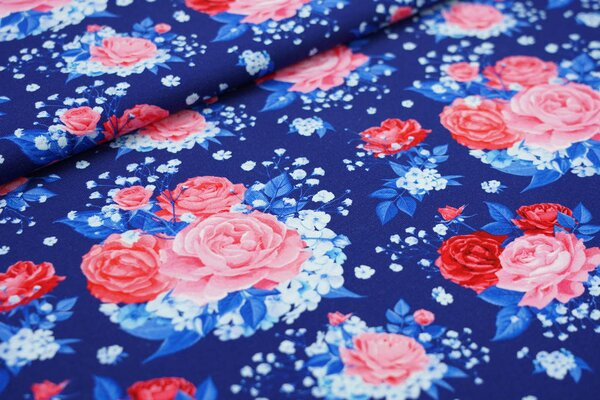 Baumwoll-Jersey Digitaldruck Rosen Blumen dunkelblau / blau / rosa / rot
