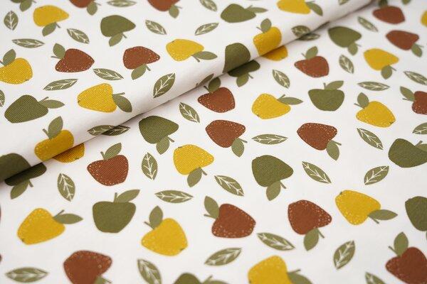 Baumwoll-Jersey Äpfel und Blätter auf weiß mit khaki grün / senf / braun Apfel