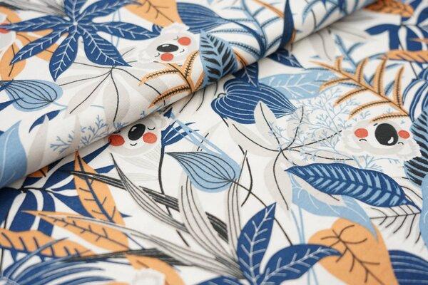 Sommer T-Shirt-Stoff / leichter Jersey Koalabären und Blätter weiß / blau / grau / orange