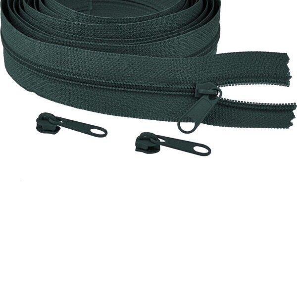 Endlos Spiral Reißverschluss uni dunkelgrün 3 mm