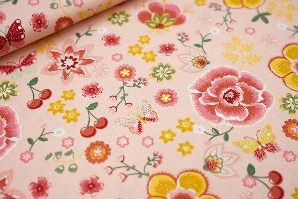 Baumwolle Blumen Schmetterlinge Kirschen lachs / rot / senf / grün