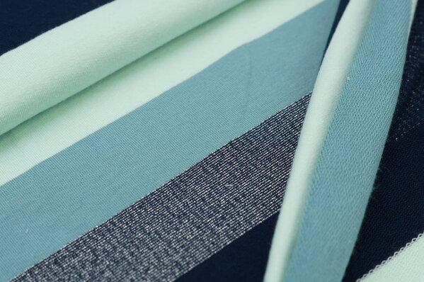 Sweat Marie Blockstreifen mit silber Lurex Glitzer navy blau / altmint / mint