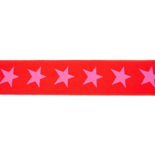 Breites Gummiband 40 mm Sterne rot / pink