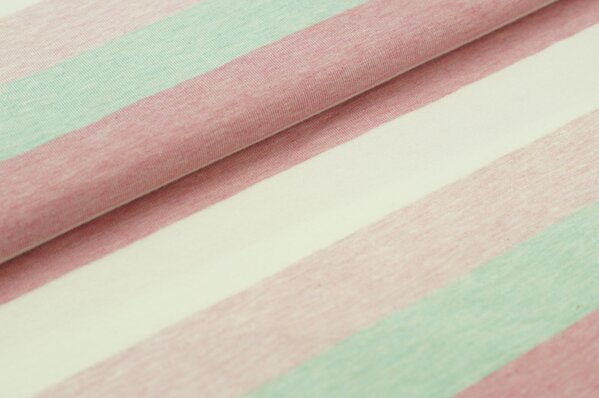 Jersey Maya Blockstreifen pastell mint pink off white rosa melange