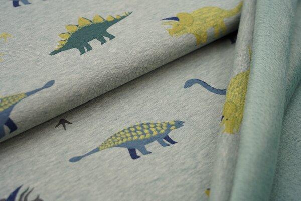 Kuscheliger Happy Fleece Alpenfleece Dinosaurier auf hellem altmint meliert melange Kuschelsweat