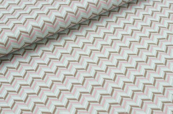 Baumwollstoff buntes Zick Zack Muster auf weiß mit mint / rosa / braun