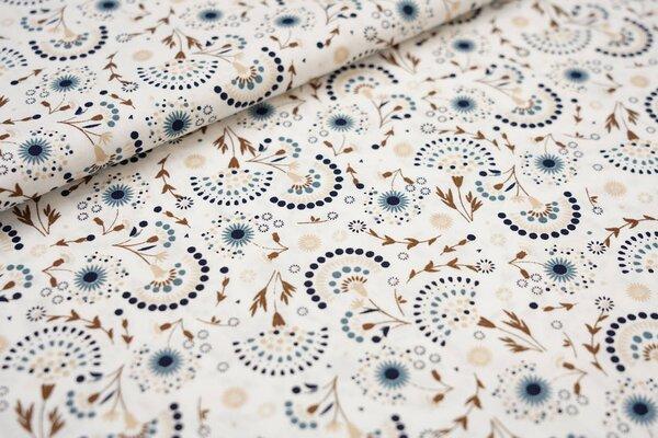 Baumwoll-Stoff mit Blumen Fächer weiß / braun / dunkelblau / beige