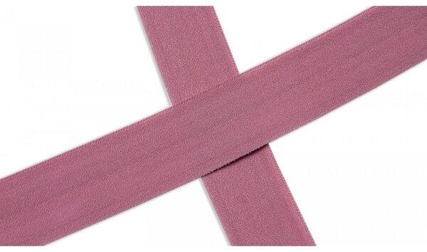 Elastisches mattes Schrägband uni altrosa 20 mm Einfassband