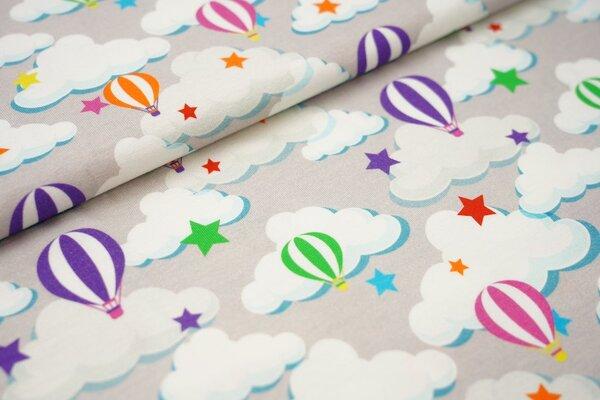 Baumwoll-Jersey mit bunten Heißluftballons Sterne und Wolken auf hellgrau