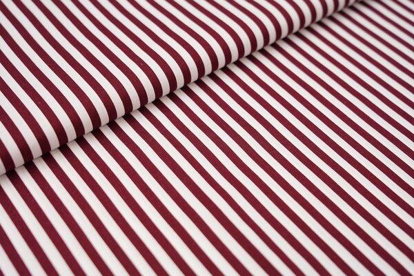Baumwollstoff Baumwolle Streifen bordeaux rot / weiß