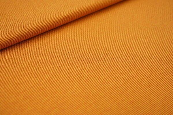 Baumwoll-Jersey Mini-Streifen Ringel senf / rostbraun