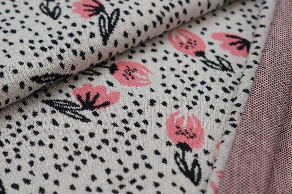 Jacquard-Sweat Ben mit Blumen und Punkten koralle / off white / schwarz