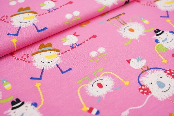 Baumwoll-Jersey witzige Monster Vögel und Blumen rosa / bunt