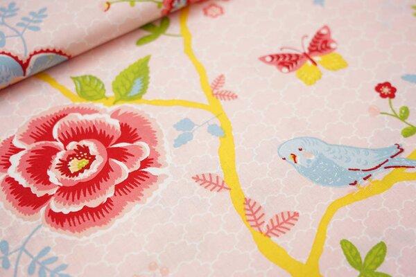 Baumwolle Blumenzweige Wellensittiche Schmetterlinge rosa / rot / hellbau