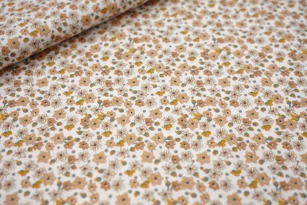 Baumwolle kleine Blumen Blüten weiß / hellbraun / altgrün / senfgelb / mint