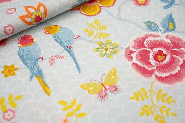 Baumwolle Blumenzweige Wellensittiche Schmetterlinge hellblau / rot / orange