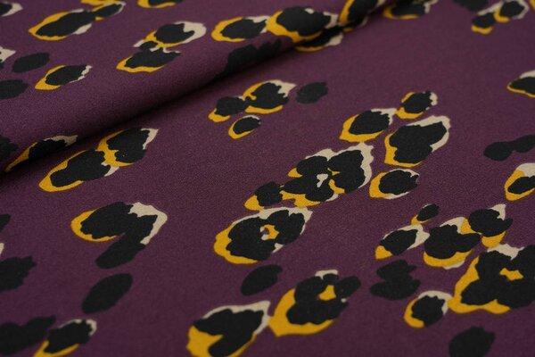 Kreppstoff Crepe Georgette Leoparden Muster aubergine / schwarz / senf