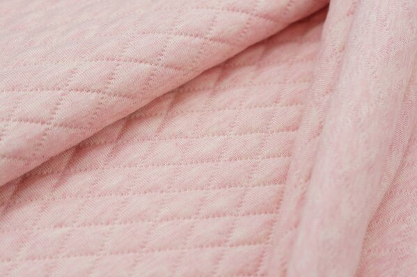 Stepp-Stoff Uni pastell rosa melange Steppsweat
