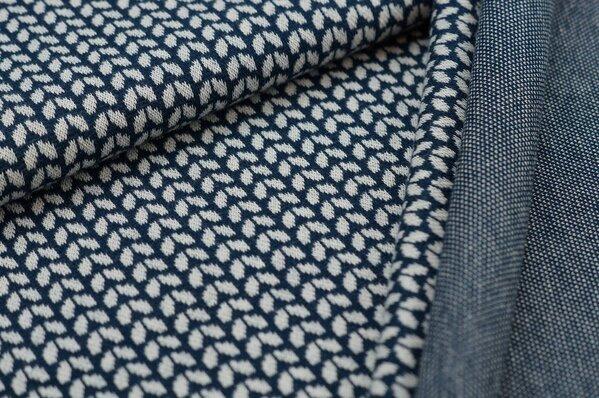 Jacquard-Sweat Ben kleine off white Blätter auf navy blau