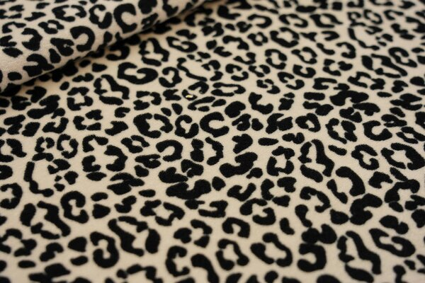 Nicki Velours Stoff kleines Leopardenfell Muster sand beige / schwarz