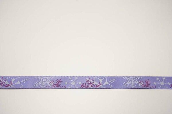 Satinband Eiskristalle Eissterne Winter auf lila 15 mm Zierband Dekoband