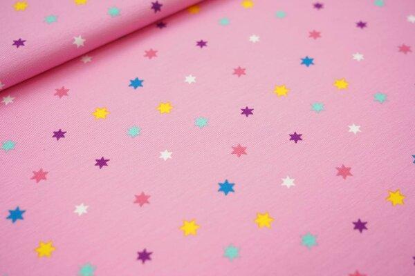 Baumwoll-Jersey bunte Sterne auf rosa