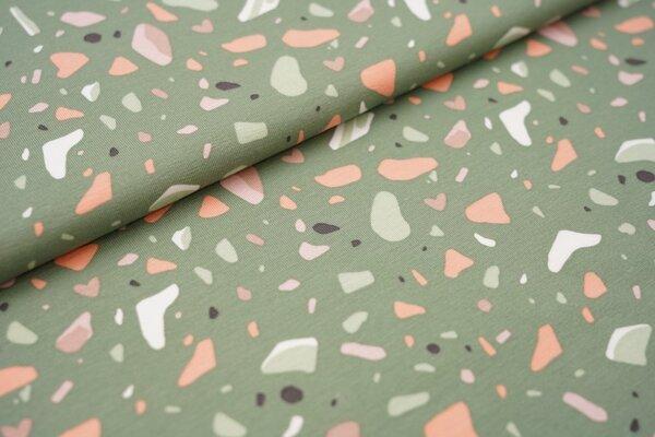 Baumwoll-Jersey bunte Kieselsteine auf grün