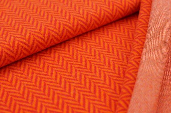 Kuschel Jacquard-Sweat Max XXL Fischgrätmuster rot / orange