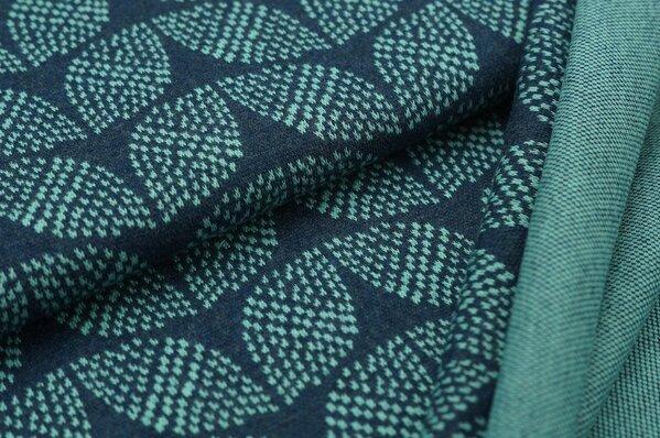 Jacquard-Sweat Mia eisblaue Blätter Muster auf navy blau Melange