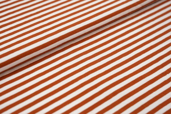 Baumwoll-Jersey Streifen Ringel weiss / rost braun