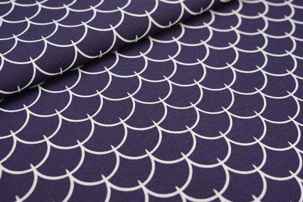 Dekostoff Canvas weiße Schindeln Schuppen Wellen auf dunkelblau