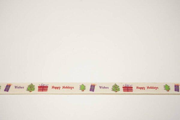 Webband Weihnachtsbaum Geschenke Weihnachten auf natur 15 mm Zierband Dekoband