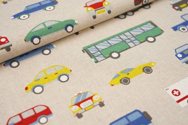 Canvas-Stoff Dekostoff in Leinenoptik Fahrzeuge Autos Busse Feuerwehr natur